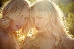 Gêmeos no tempo ensolarado do verão Meninas com os bordos, a família e as irmãs vermelhos 'sexy' Imagens de Stock Royalty Free