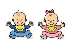 Gêmeos pequenos menina e menino Ilustração Stock