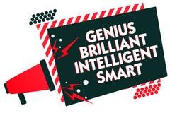 Gênio Smart inteligente brilhante da escrita do texto da escrita Conceito que significa o loudsp brilhante inteligente do megafon ilustração royalty free