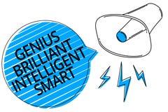 Gênio Smart inteligente brilhante do texto da escrita da palavra Conceito do negócio para o loudspea brilhante inteligente do meg ilustração royalty free