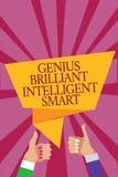 Gênio Smart inteligente brilhante do texto da escrita da palavra O conceito do negócio para a mulher brilhante inteligente do hom ilustração do vetor