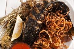 Góbio grelhado saboroso com close-up dos anéis de cebola Imagens de Stock Royalty Free