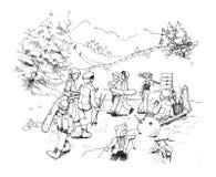Góndola del esquí en el dibujo de la historieta de la nieve del invierno Imagen de archivo libre de regalías