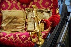 Góndola y detalles de oro, en Venecia, Italia, Europa Fotos de archivo