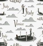 Góndola y gondolero de Venecia en sombras del gris stock de ilustración