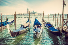 Góndolas en la plaza San Marco, Venecia fotografía de archivo libre de regalías