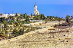 Gór oliwek Żydowskich cmentarzy Kościelny wniebowstąpienie Jerozolima Izrael Zdjęcia Stock