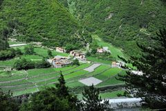 gór tibetan wioska Obrazy Royalty Free