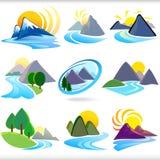 gór wzgórzy ikon płatowata góra ve Zdjęcia Stock