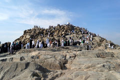 Góra Arafat litość (Jabal Rahmah) fotografia stock