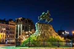 Góra Bohdan Khmelnitskiy w Kyiv przy nocą Zdjęcia Royalty Free