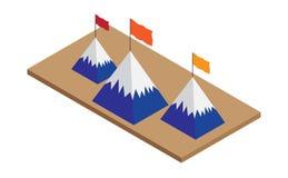 Góra chorągwiany sukces isometric ilustracji