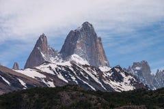 Góry Fitz Roy sylwetka Zdjęcia Stock