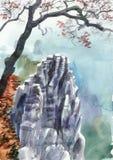 Góra i drzewo ilustracji