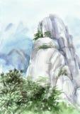Góra i drzewo ilustracja wektor