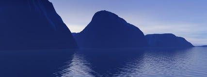 Góra i morze ilustracji