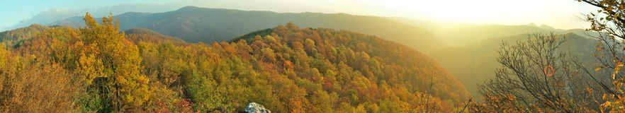 Góra krajobraz, jesień kolory, spacer synkliny dzika natura Zdjęcia Royalty Free