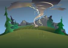 Góra krajobraz w złej pogodzie Tornado, huragan i błyskawica, również zwrócić corel ilustracji wektora ilustracji