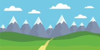Góra krajobraz z śnieżnymi szczytami z łąką i trawą, ścieżka royalty ilustracja