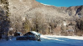 Góra krajobraz z lasem i dwa małymi domami po ciężkiego opad śniegu obraz royalty free