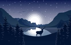 Góra krajobraz z rogaczem w jeziorze przy nocą i lesie royalty ilustracja