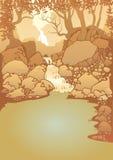 Góra krajobraz z siklawą ilustracja wektor