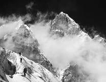 Góra Lhotse z chmurami na wierzchołku Zdjęcie Stock