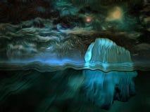Góra lodowa, gwiaździsty niebo royalty ilustracja