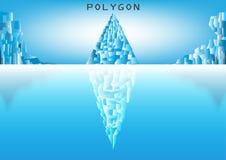 Góra lodowy niski poli- styl z odbiciem Fotografia Royalty Free