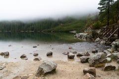 Góra Morskie Oko jezioro blisko Zakopane, Tatrzańskie góry fotografia stock