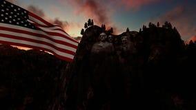 Góra Rushmore z usa flaga dmuchaniem w wiatrze, timelapse wschód słońca royalty ilustracja