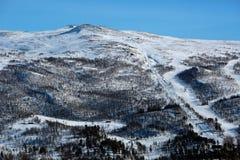 Góra z zjazdowym narta śladem, dźwignięciem i szalunek kabinami, zdjęcia royalty free