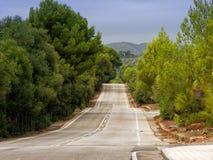 Górkowata droga na Mallorca obramiał drzewami i krzakami Obraz Stock