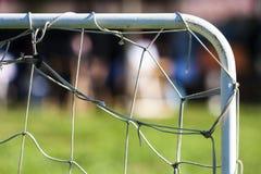 Górnej Prawego kąta Futbolowej piłki nożnej celu Mini sieć Obraz Stock