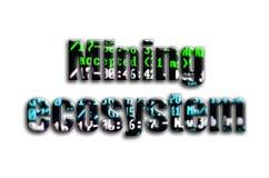 Górniczy ekosystem Inskrypcja teksturę fotografia która przedstawia cryptocurrency oprogramowania górniczego ekran, zdjęcie royalty free