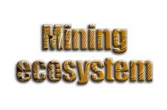 Górniczy ekosystem Inskrypcja teksturę fotografia która przedstawia kilka bitcoins, ilustracja wektor