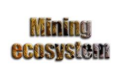 Górniczy ekosystem Inskrypcja teksturę fotografia która przedstawia kilka bitcoins, ilustracji