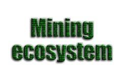 Górniczy ekosystem Inskrypcja teksturę fotografia która przedstawia zielonego binarnego kod, zdjęcia royalty free