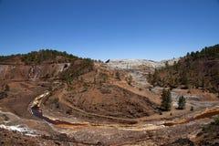 Górniczy krajobrazowy czerwony rzeczny basen w prowinci Huelva, Andalusia Zdjęcie Stock
