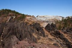 Górniczy krajobrazowy czerwony rzeczny basen w prowinci Huelva, Andalusia Obraz Stock