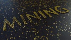 GÓRNICZY słowo robić złote liczby Cryptocurrency odnosić sie konceptualnego 3D rendering Fotografia Royalty Free
