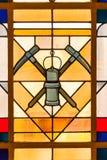 Górniczy symbolu witrażu okno fotografia stock