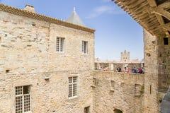 Górska chata Comtal 1130 w fortecy Carcassonne, (Francja) UNESCO lista Zdjęcie Royalty Free