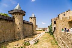 Górska chata Comtal w fortecy Carcassonne, Francja UNESCO lista Obrazy Royalty Free