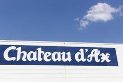 Górska chata d ` Ax logo na ścianie Fotografia Royalty Free