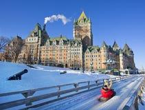 Górska chata Frontenac w zimie, Quebec miasto, Kanada Fotografia Stock