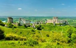 Górska chata Gaillard, rujnujący średniowieczny kasztel w Les Andelys miasteczku - Normandy, Francja obrazy stock