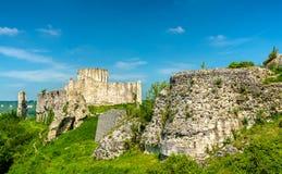 Górska chata Gaillard, rujnujący średniowieczny kasztel w Les Andelys miasteczku - Normandy, Francja obrazy royalty free