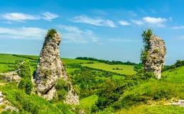 Górska chata Gaillard, rujnujący średniowieczny kasztel w Les Andelys miasteczku - Normandy, Francja fotografia stock
