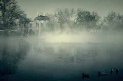 Górska chata z stawem w mgle zdjęcie stock